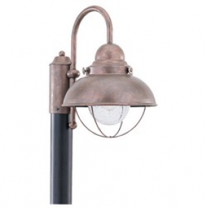 Sebring Outdoor Post Lantern Weatherd Copper Finish