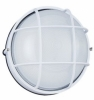 Nautical Outdoor Wall Lantern Round White Finish Aluminum frosted glass